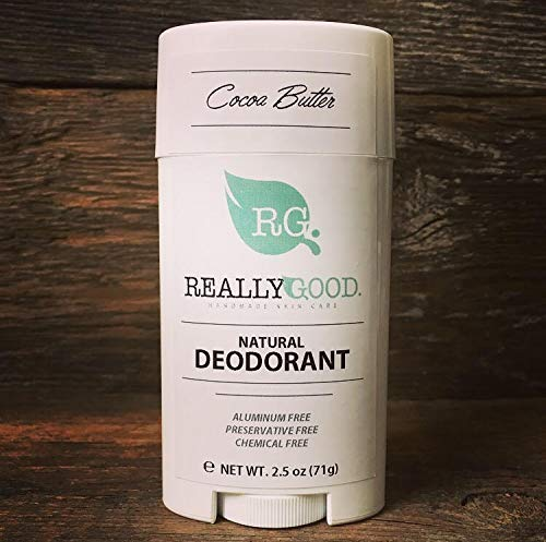 Really Good Skin Care All Natural, Aluminum Free Deodorant, 2.5 oz - Cocoa Butter - Preservative Free, Chemical Free, Cruelty Free & Vegan SENSITIVE SKIN Odor Protection