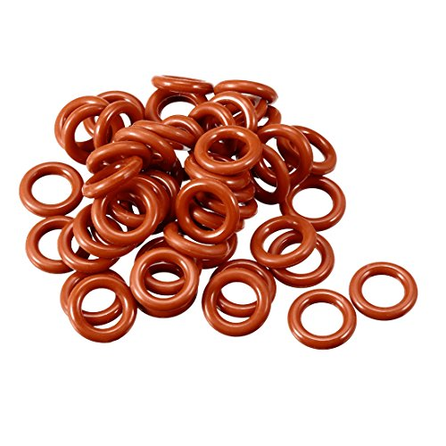 uxcell Silicone O-Ring, 10mm Outside Diameter, 6mm Inner Diameter, 2mm Width, VMQ Seal Rings Sealing Gasket Red, 50PCS ()