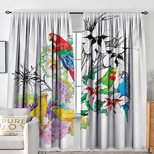 (Blackou Curtains Parrot,Parrots Observing The World on Top of Floral Foliage Garden Jungle Tropic Bird Print,Multicolor,Wide Blackout Curtains, Keep Warm Draperies,Set of 2 Panels 84