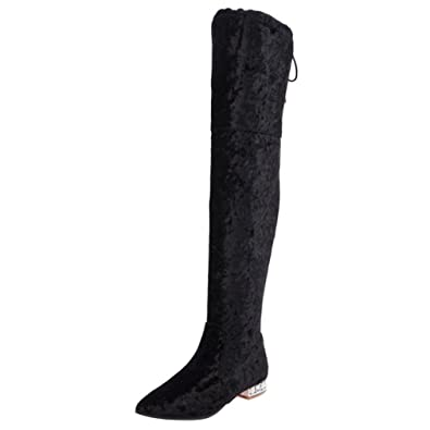 ENMAYER Womens Pleuche Material Over-The-Knee-high Boots Winter Shoes  Party Wedding Long 52e69a84a2c6