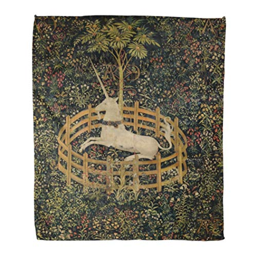 Emvency Flannel Throw Blanket The Unicorn in Captivity 1495_1505 Netherlandish Northern Renaissance Fertility Appears to Be 60x80 Inch Lightweight Cozy Plush Fluffy Warm Fuzzy Soft
