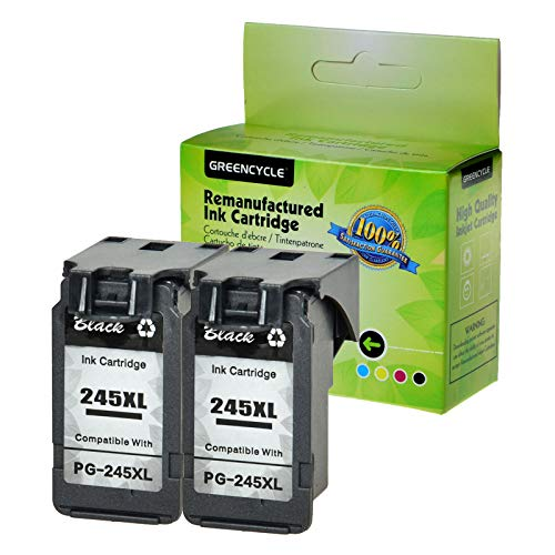 GREENCYCLE Re-Manufactured PG-245XL PG-245 Ink Cartridge Replacement for Canon Pixma MX490 MX492 MG2522 MG2525 MG2920 MG2922 MG2924 MG3020 MG3022 MG3029 TS3120 TS3122 TS202 TS302 (Black, 2 Pack)