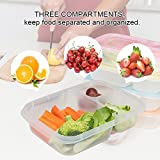 Meal Prep Containers,Lunch Boxes,Food Storage with lids,BPA Free Bento Lunch box Set with 3 Seperated Compartments,Leak Proof,Resuable,Stackable,Microwaveable,Freezer and Dishwasher Safe