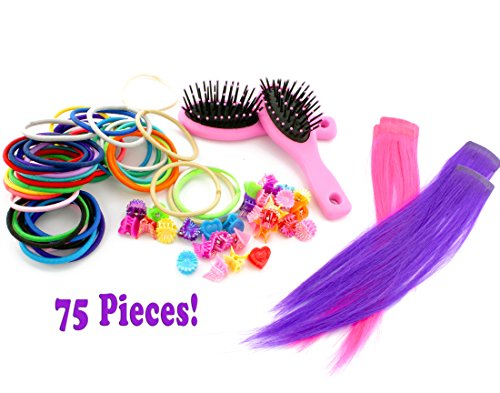 Me & My Doll Hair Accessories Set for 18-Inch Dolls & Baby Dolls (75-Piece Set); Includes Hair Brushes, Hair Extensions, Clips, Stretchy Hair (Baby Alive Costume)