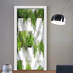 Niasjnfu Chen custom made 3d door stickers the Green Creeper Plant on a White Creates a Beautiful Background Fabric Home Decor For Room Decor 30x79