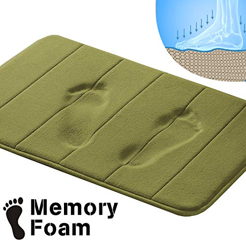 - Premium Memory Foam 17x24 inch Bath Rugs Set for Bathroom/Kitchen Machine Washable Dry Fast Water Absorbent Rugs Absorbent Soft Microfibers Bathroom Rug Non-Slip Bath Rugs - Olive Striped
