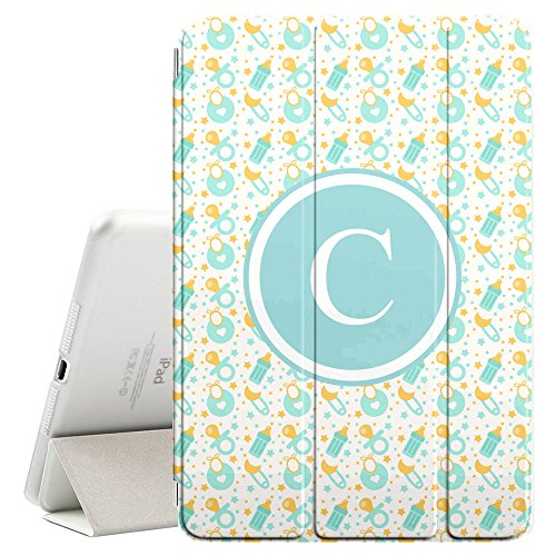 [C–Inicial] [Apple iPad Pro 32,8cm pulgadas] [Nombre Monogram Folio caso] con Auto Sleep/Wake Función [chupetes...