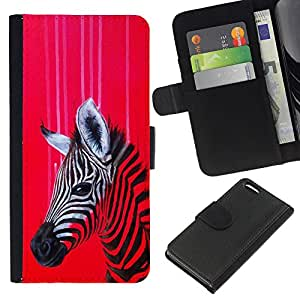 Be-Star la tarjeta de Crédito Slots PU Funda de cuero Monedero caso cubierta de piel Para Apple Iphone 5C ( Zebra Art Red Colorful Painting Oil Drawing )