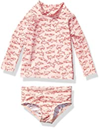 Amazon Essentials UPF 50+ Baby Girls 2-Piece Long-Sleeve Rash Guard Set, Pink Shark, 12M