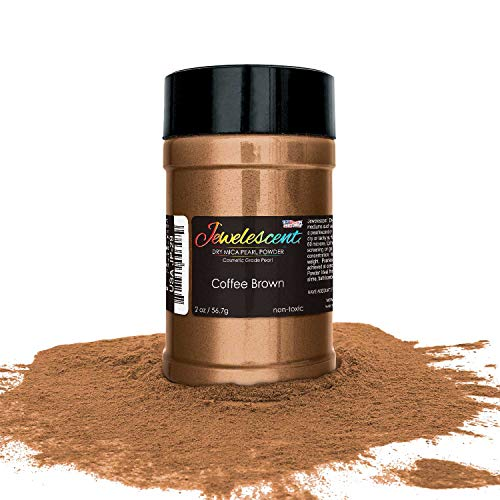 U.S. Art Supply Jewelescent Coffee Brown Mica Pearl Powder Pigment, 2 oz (57g) Shaker Bottle - Cosmetic Grade, Non-Toxic Metallic Color Dye - Paint, Epoxy, Resin, Soap, Slime Making, Makeup, - Coffee Brown Powder