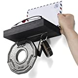 Brightmasion Entryway Magnetic Key Rack Holder Foyer Wall Mail Phone Essentials Shelf (Black)