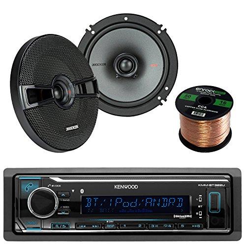 Kenwood KMM-BT315U Car In Dash Bluetooth Stereo Digital MP3 Receiver Sirius XM Ready Bundle Combo With 2 Kicker 41KSC654 6.5 inch 200W 2-Way Stereo Speakers + Enrock 50 Foot 16 Gauge Speaker Wire
