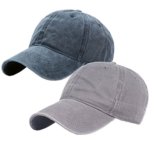 - Vintage Washed Dyed Cotton Twill Low Profile Adjustable Baseball Cap (A-Grey+Navy Blue)