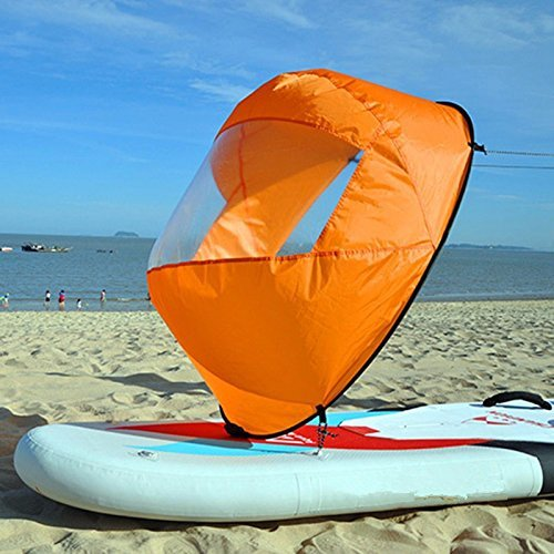"SHUOGOU 42"" Downwind Wind Paddle Popup Board Kayak Sail Kit Kayak Wind Sail Kayak Accessories, Easy Setup & Deploys Quickly, Compact & Portable (Orange)"