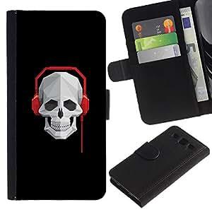 LECELL--Cuero de la tarjeta la carpeta del tirón Smartphone Slots Protección Holder For Samsung Galaxy S3 III I9300 -- Cráneo Batir Auriculares --