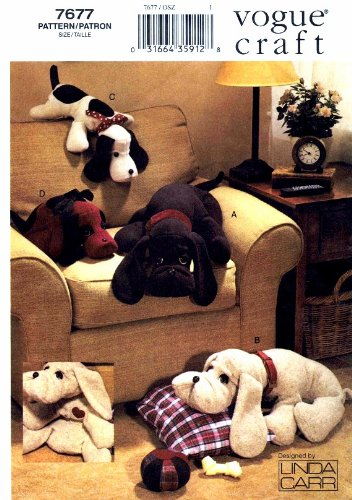 Vogue 7677 Sewing Pattern Plush Dogs (Uncut Vogue Sewing Pattern)