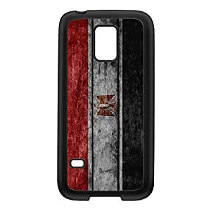 Grunge Wood Flag of Egypt - Egyptian Flag Black Silicon Rubber Case for Galaxy S5 Mini by UltraFlags + FREE Crystal Clear Screen Protector