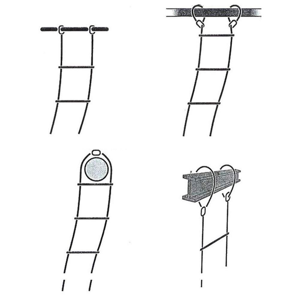Escalera de cuerda suave escalera resina 20 M alta escalada antideslizante cuerda escalera trabajo a/éreo escalera emergencia trabajo seguridad respuesta fuego rescate roca escalada escape,5meters