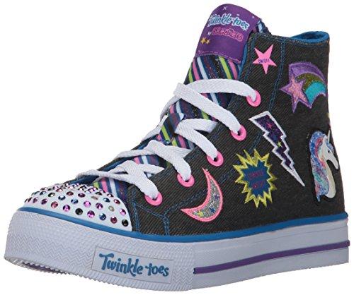 Skechers Kids Girls' Shuffles-Twist N'Turns Sneaker, Black/Multi, 1 M US Little Kid