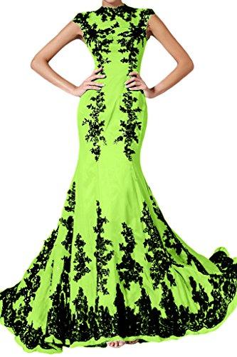 Applicazione punta, Ivydressing donna Elegant Mermaid Chiffon un'ampia vestito da sera lungo Jaegergruen 44