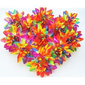 "(12) Rainbow Silk Dahlia Flower Heads - 4"" - Artificial Flowers Dahlias Head Fabric Floral Supplies Wholesale Lot for Wedding Flowers Accessories Make Bridal Hair Clips Headbands Dress 7"