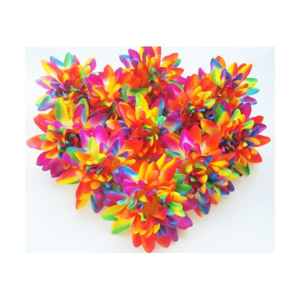 (12) Rainbow Silk Dahlia Flower Heads – 4″ – Artificial Flowers Dahlias Head Fabric Floral Supplies Wholesale Lot for Wedding Flowers Accessories Make Bridal Hair Clips Headbands Dress