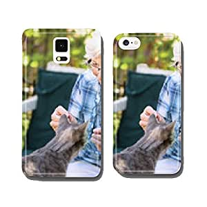 Senior and cat cell phone cover case Samsung S5