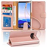 Arae Wallet Case Compatible for Samsung Galaxy Note 8 with Kickstand and Flip Cover (Rose Gold)