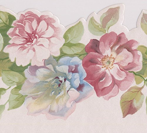 Pink Blue Red Roses on Vine Floral Wallpaper Border Scalloped Retro Design, Roll 15' x 4.75'' ()