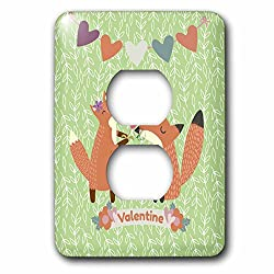 3dRose Uta Naumann Watercolor Illustration Animal - Valentine Fox Love-Lovely Animal Illustration for Kids and Parents - Light Switch Covers - 2 plug outlet cover (lsp_268892_6)