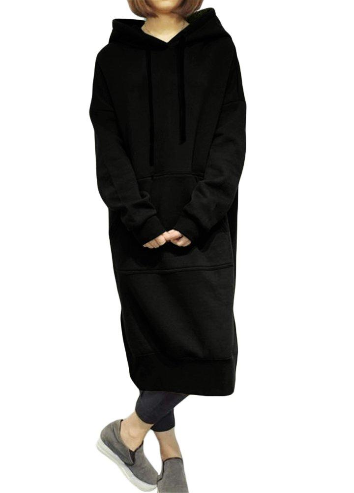 Romacci Damen Lose Lange Sweatshirt mit Kapuze Kleid Langarm Taschen Split Casual Warme Hoodies