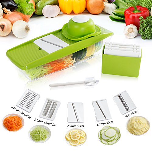 Lifewit 5 Blades Mandoline Slicer Straight Slicer,Vegetable Cutter, Fruit Blade, Potato Wavy Blade