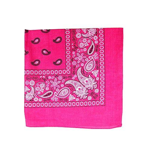 3 Pack Mechaly Dog Bandana Neck Scarf Paisley 100% Cotton Double Sided Bandanas - Any Pets (Hot Pink)