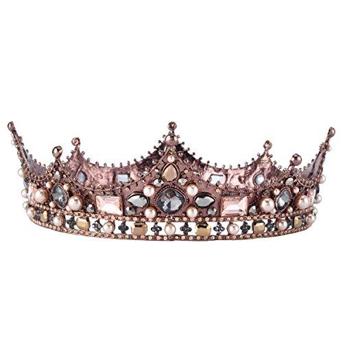 Royal Queen Tiara Crown Gold Rhinestones Wedding Bride Crown Princess Tiara Headband (black) -