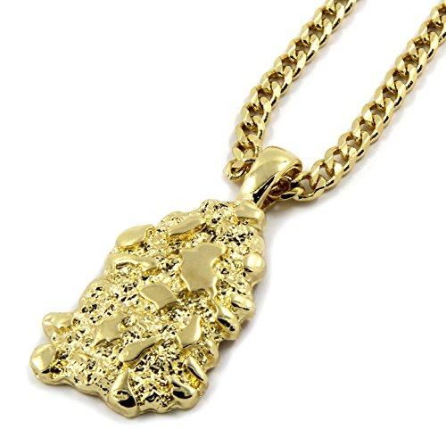 L & L Nation Mens Gold Plated Nugget Pendant Hip-Hop 3mm/30 Cuban Chain