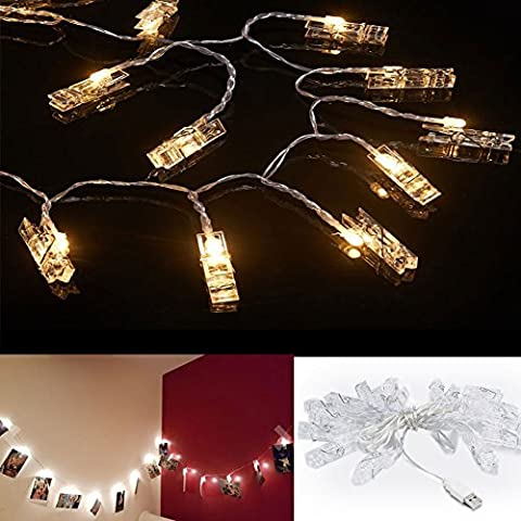 Accmor 21ft LED Photo Clip String Lights,USB Lights with 30 Photo Clips for Indoor/Outdoor Halloween Decorate or Photo Display- Perfect Bedroom Ornament for Hanging Pictures Notes Artwork (Warm - 30 White Clips