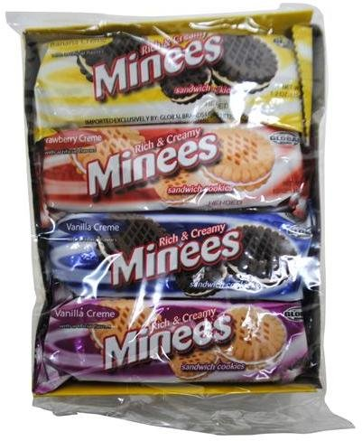 Minees Sandwich Creme Cookies 1.2 oz [6 Boxes with 8 Packages each] 48 Individual Cookie Packages