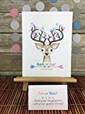 Buck or Doe? Gender Reveal deer fingerprint guest sign in page featuring a buck with arrow details