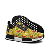 Pduiqo flowers with watermelon leaves Men's hip hop lightweight basketball sneakers Gym Outdoor gym shoes