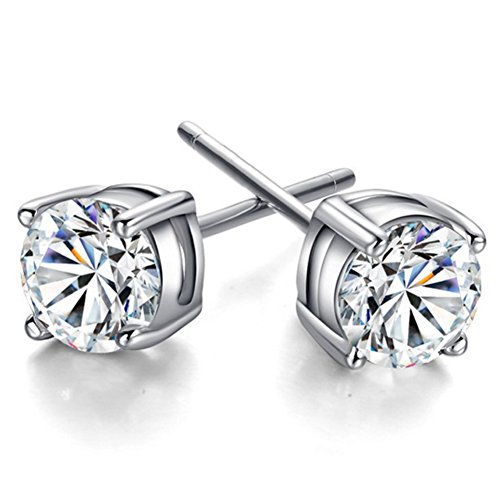 Youree 18k White Gold Plated CZ Cubic Zirconia Round Princess Cut 8mm Studs Earrings - Mens Womens Children Fashion Jewelry, Bridesmaid Groomsmen Gifts (ED-89) (8mm)