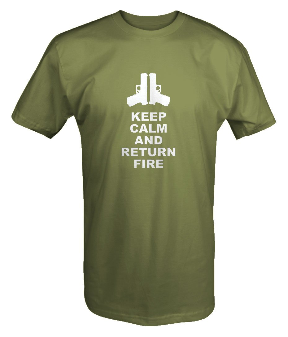 Keep Calm and Return Fire Pistols Guns T shirt - Large