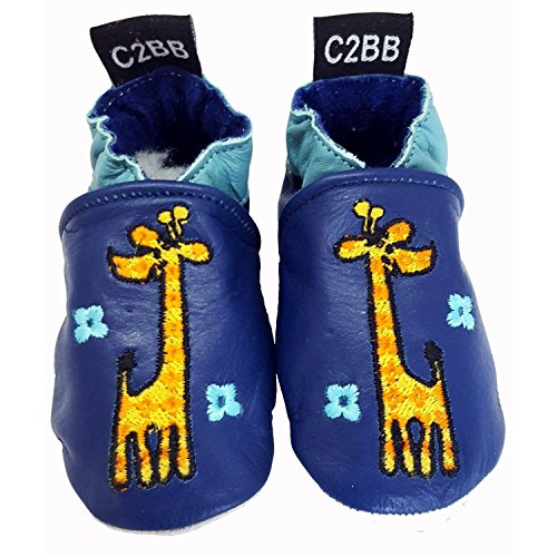 C2BB - Zapitillas de bebe de cuero suave antideslizante | Girafa naranja Beige