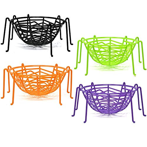 Halloween Spider Web Legs Candy Bowl Basket Party Favor Supplies Table Decorations, Set of 4 Trick or Treat Plastic Goodie Dish Holder Orange Black Purple Green by Gift -