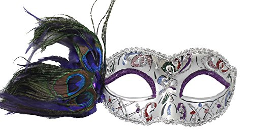 Dress Masqurade (RedSkyTrader Womens Party Mask with Peacock Feathers One Size Fits Most)