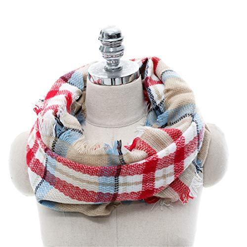 Sciarpa invernale scozzese cerchio beige Sciarpa Acvip inverno donna autunno cashmere imitazione rosso a a UzwqBU