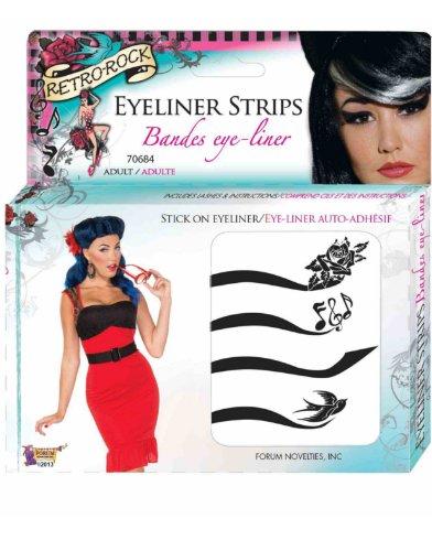 Forum Novelties Women's Retro Rock Eyeliner Kit, black
