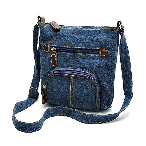 mall Denim Bag Mini Crossbody Bag with 2 Outer Zippered Pockets (Two Zippered Main Pockets)