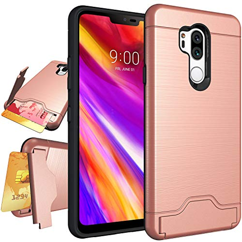 LG G7 Case,LG G7 ThinQ Case,NiuBox Armor [Card Slot Wallet] [Kickstand] Full Body Shock Absorption Protective Phone Case Cover for LG G7 (2018 Version) Rose Gold