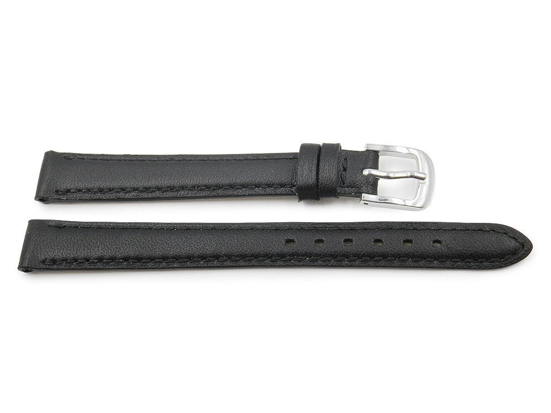 15 mm GenuineレザーブラックレディースSmooth Stitched時計ストラップ  B06W9GFJW7