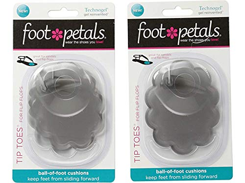 Foot Petals Women's Technogel Tip Toes for Flip Flops Charcoal One Size